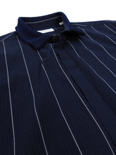 Load image into Gallery viewer, Tomorrowland Navy Collared Pinstripe Shirt - M