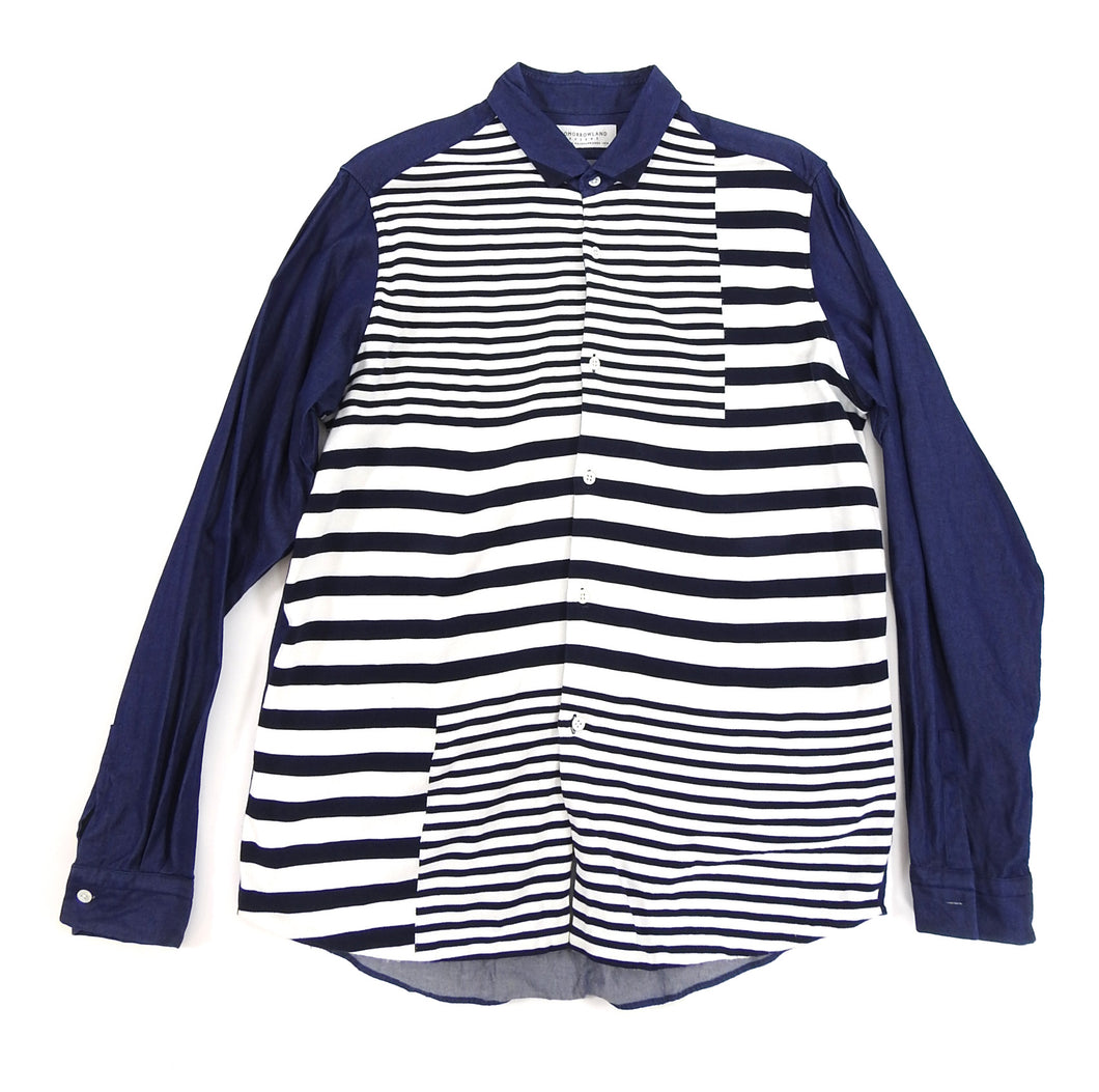 Tomorrowland Tricot Blue and White Denim Knit Stripe Shirt
