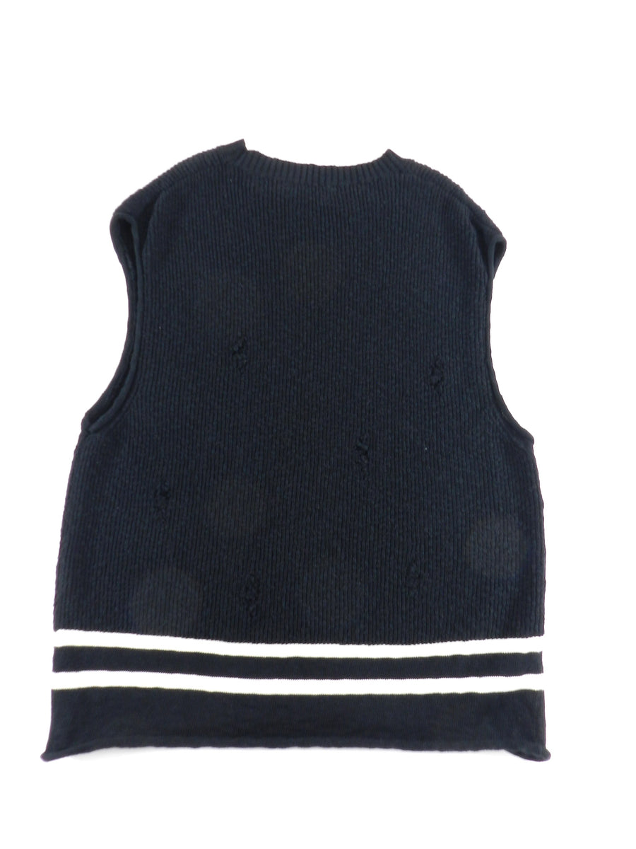 Undercover Spring 2018 Black Oversized Distressed Sweater Vest - L