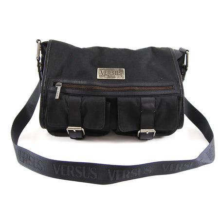 Versus by Gianni Versace Black Canvas Messenger Bag