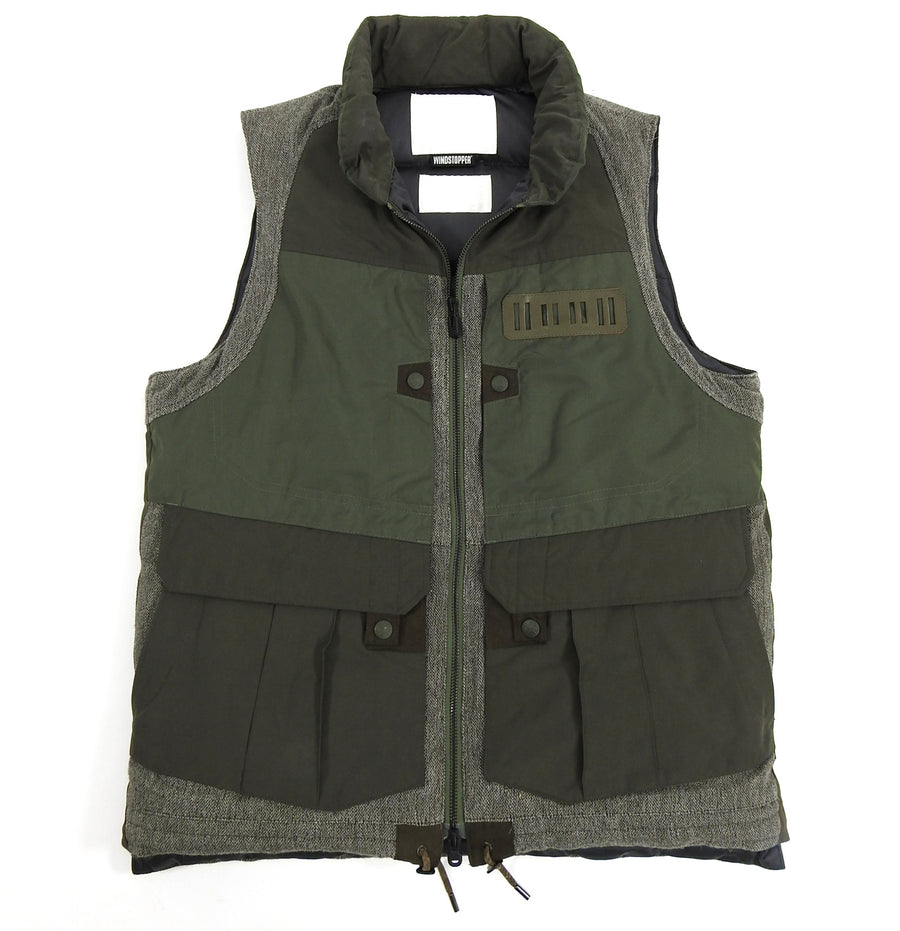 White Mountaineering Olive and Brown Down Technical Vest