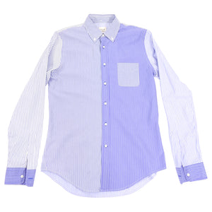 Wooster x Lardini Blue Pinstripe Panel Cotton Shirt