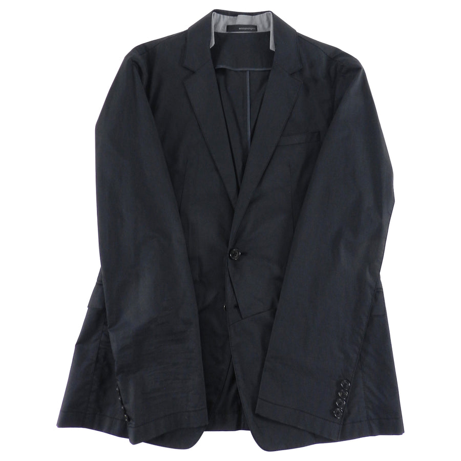 Wooyoungmi Black Blazer with Grey Shirt Collar Inset - 40