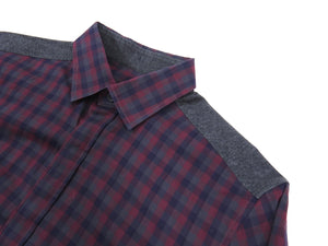 Z Zegna Burgundy and Grey Button Down Shirt - M