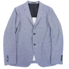 Load image into Gallery viewer, Z Zegna Blue and White Knit Check Wool Blend Blazer