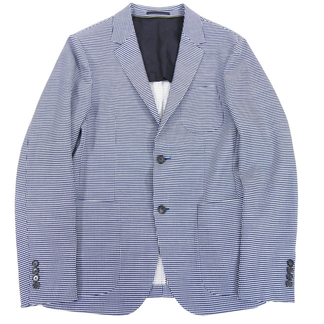 Z Zegna Blue and White Knit Check Wool Blend Blazer