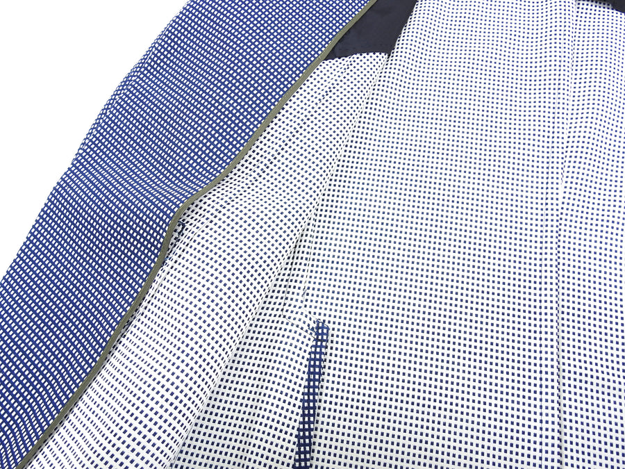 Z Zegna Blue and White Knit Check Wool Blend Blazer - 38
