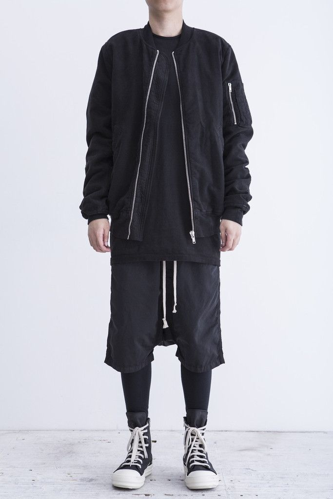 Rick Owens Vicious Spring 2014 Black Cotton Bomber Jacket - M