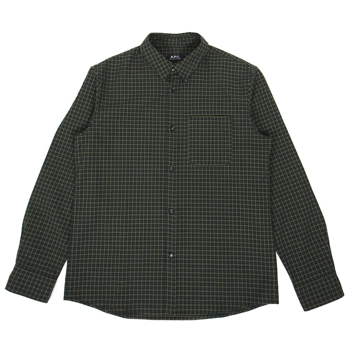 A.P.C. Check Button Up Green XL