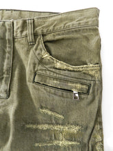 Load image into Gallery viewer, Balmain Army Green Distressed Moto Denim Jeans -  33