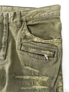 Balmain Army Green Distressed Moto Denim Jeans -  33