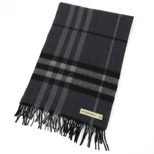 Load image into Gallery viewer, Burberry Check Cashmere Scarf Grey