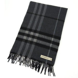 Burberry Check Cashmere Scarf Grey