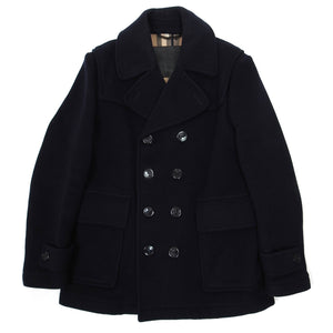 Burberry Navy Wool Peacoat Large