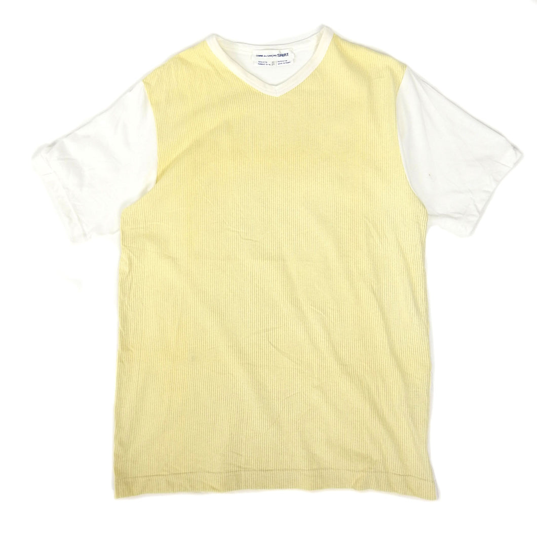 CDG Shirt Striped Tee Yellow Large
