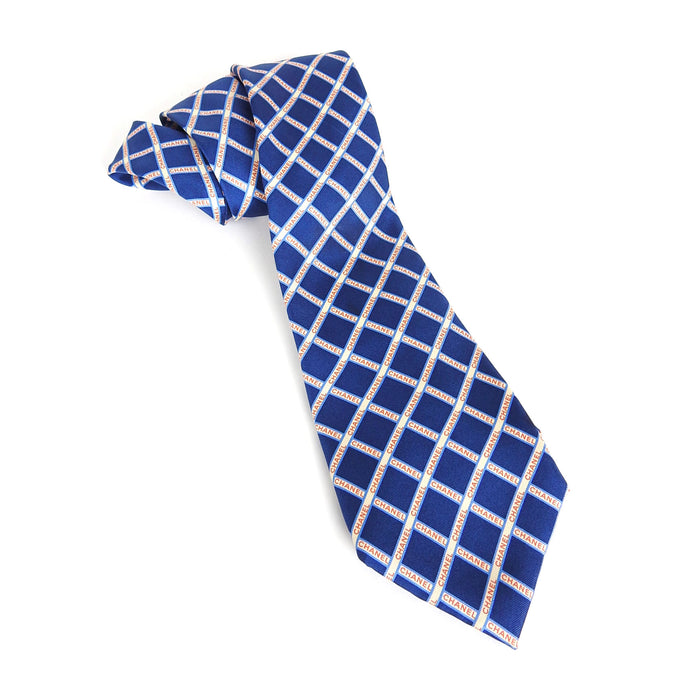 Chanel Silk Tie Blue