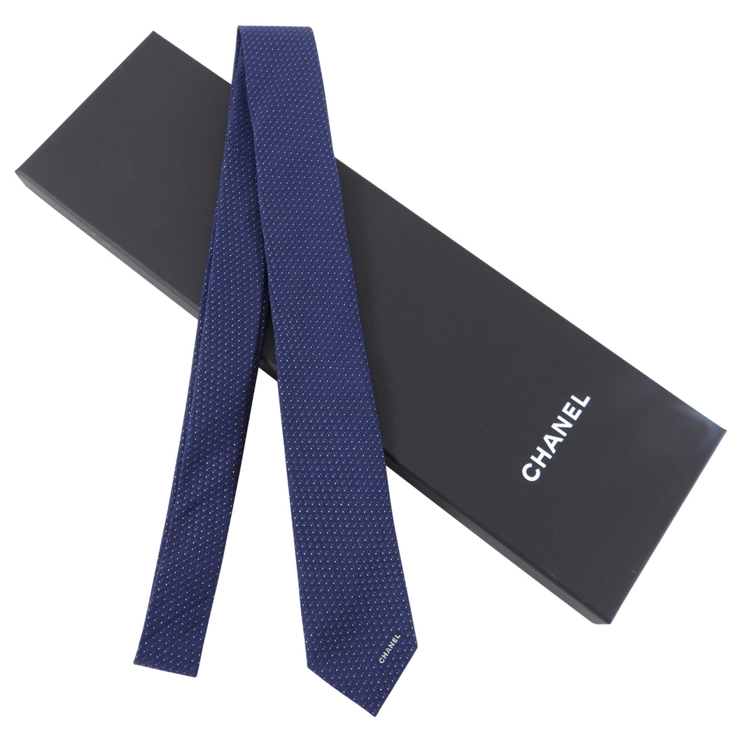 Chanel Blue Silk Men's Skinny Tie in Box