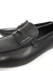 Prada Black Saffiano Leather Loafers UK 9