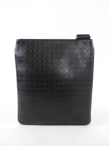 Ferragamo Black Leather Gancini Messenger Bag