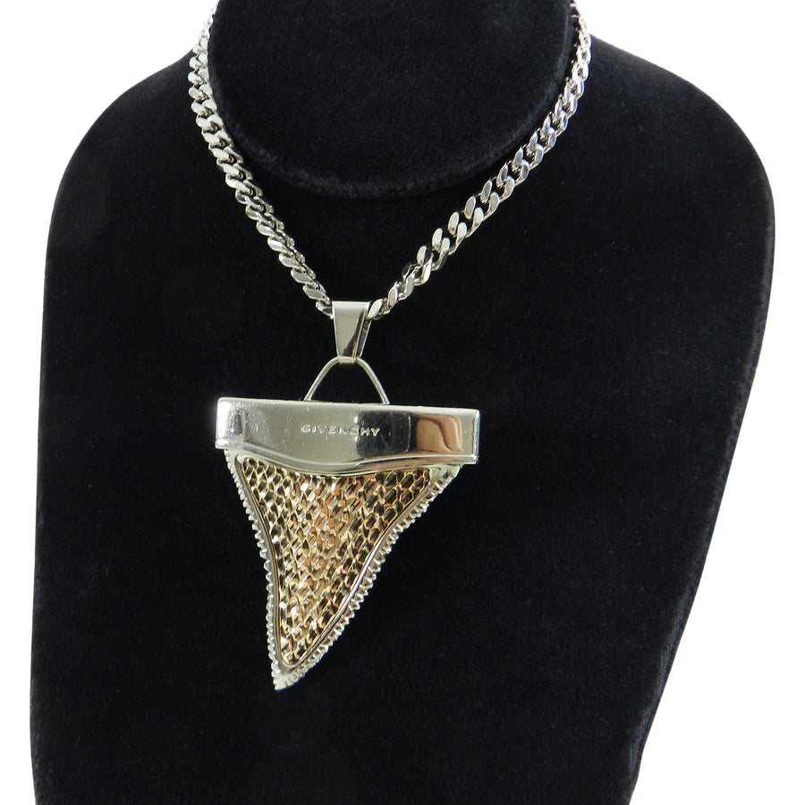Givenchy Large Silver and Brass Shark Tooth Necklace