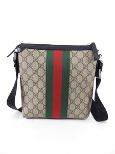 Gucci Monogram Supreme Web Stripe Small Messenger Bag