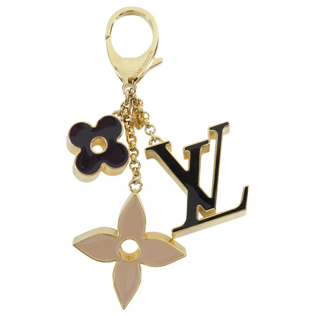 Louis Vuitton Gold Enamel Logo Keychain