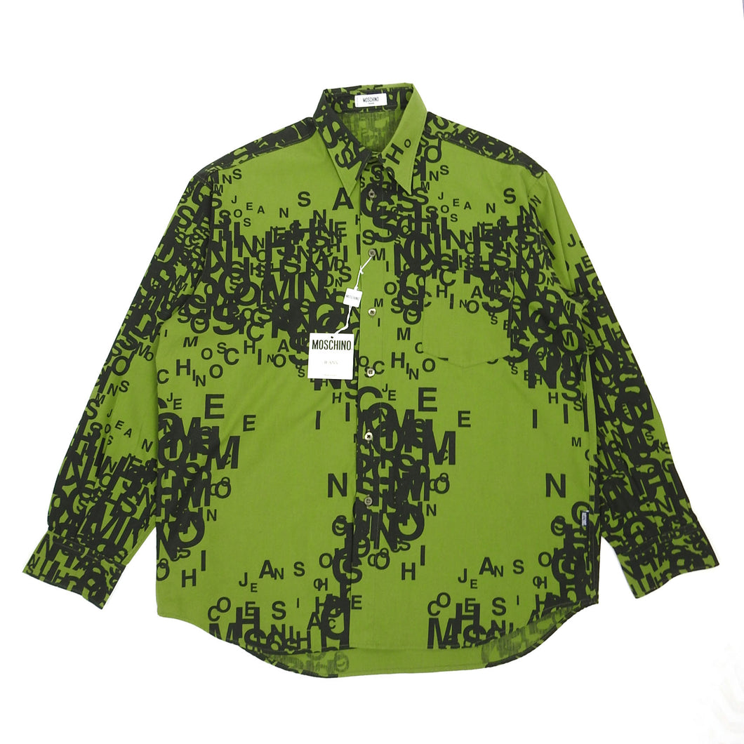 Moschino Jeans Green Script Shirt Large