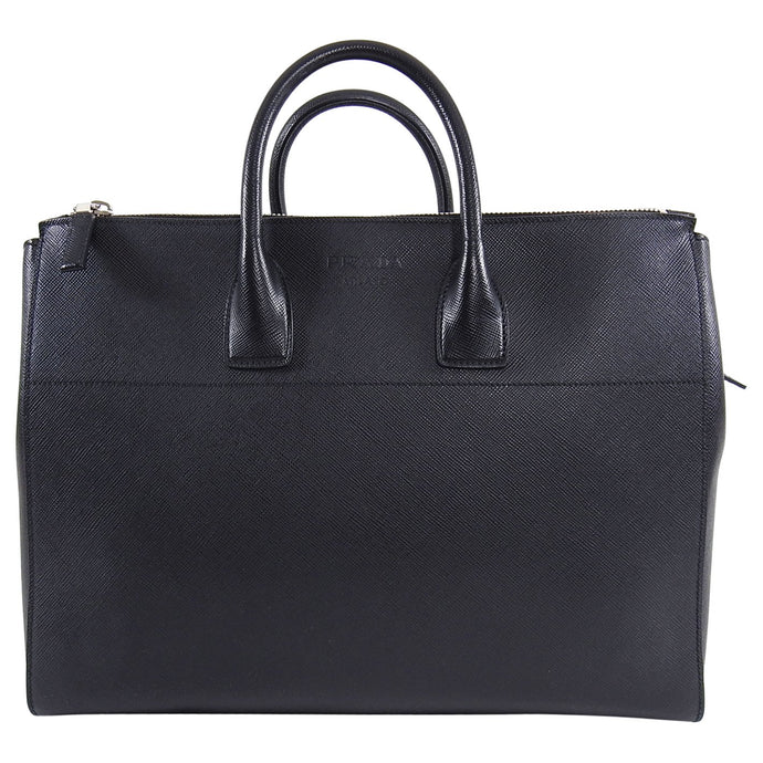 Prada Black Saffiano Leather XL Zippered Executive Tote Bag