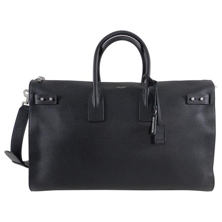 Saint Laurent Black Leather Sac de Jour 48H Large Duffle Bag