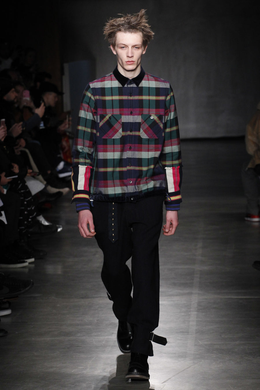 Sacai Fall 2017 Green and Blue Check Double Faced Flannel Shirt - L