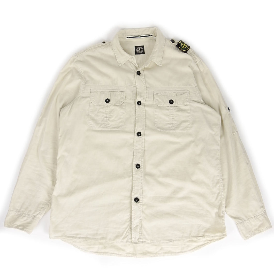 Stone Island Button Up Off-White Fits L/XL