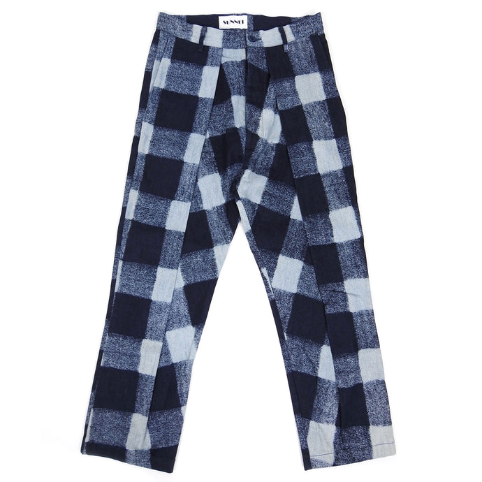 Sunnei Check Pleated Pants Navy Small