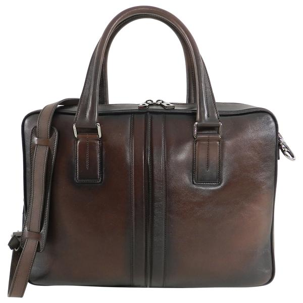 Tods Dark Brown Leather Zippered Briefcase Portfolio Bag