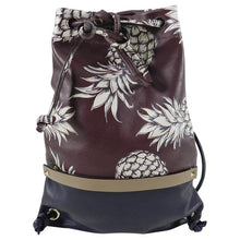 Load image into Gallery viewer, Valentino 2016 Burgundy and Navy Pineapple Ananas Drawstring Bag
