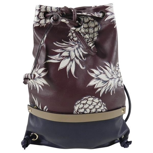 Valentino 2016 Burgundy and Navy Pineapple Ananas Drawstring Bag