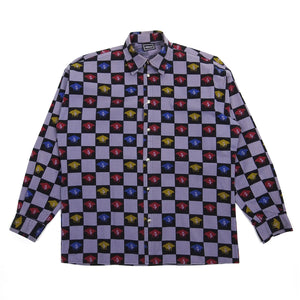 Versace Jeans Couture Purple/Black Check Medusa Button Up