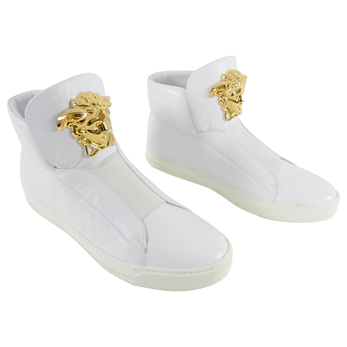 9e06e4d0 Versace White Leather Palazzo High Top Sneakers with Medusa - 10