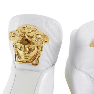 Versace White Leather Palazzo High Top Sneakers with Medusa - 10