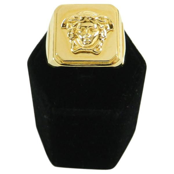 Versace Gold Medusa Head Signet Ring in Box