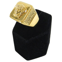 Load image into Gallery viewer, Versace Gold Medusa Head Signet Ring in Box