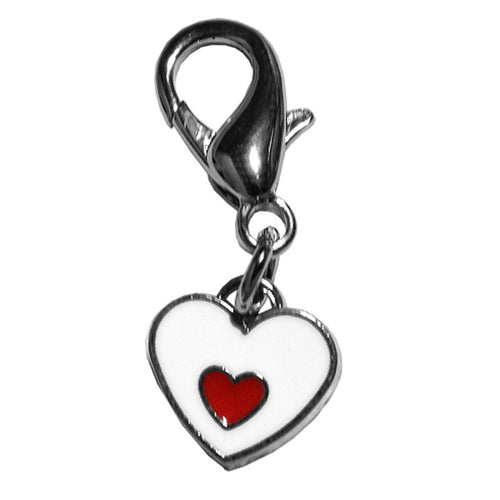 Red and White Enamel Hearts Lobster Claw Dog Collar Charm