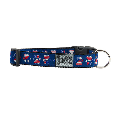 Patriotic Paws Adjustable Clip Dog Collar - Blue