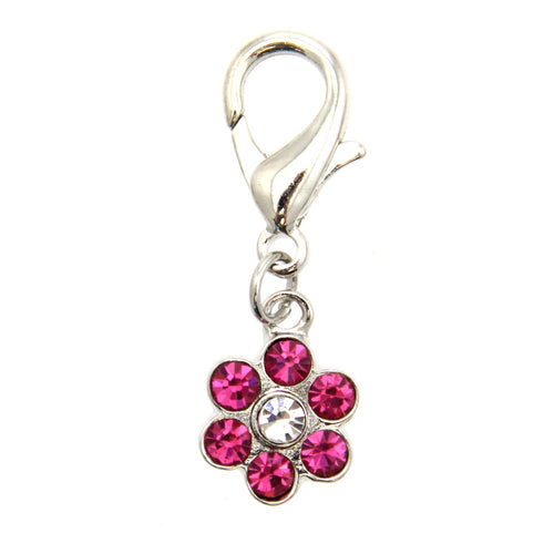 Flower D-Ring Pet Collar Charm by FouFou Dog - Pink