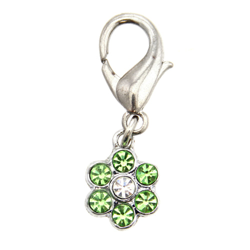 Flower D-Ring Pet Collar Charm by FouFou Dog - Green