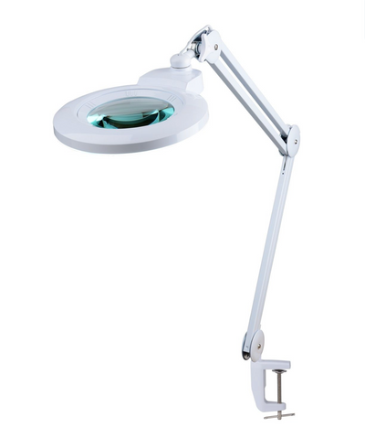 Round 8X or 5X Diopter Magnifying Lamp With Interchangeable Lens Compact Stand