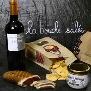Assortiment Été 2016 (rouge), Socca chips, Moutarde de Normandie, Magrait de canard fumé - Souvenir de France