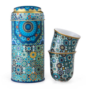 Tin box with 2 tall cups