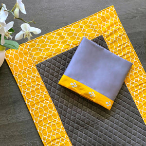 Yellow grey Prayer Dress & Mat