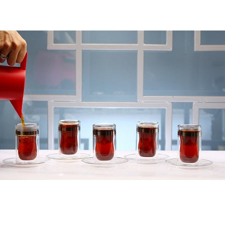 Platinum Istikana Glass & Saucer, 6 pcs.