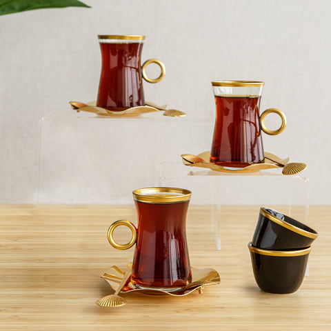 Sea Shell Tea & Coffee with spoons set, 6pcs